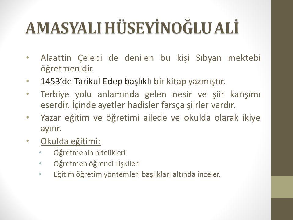 Alaattin Çelebi de denilen bu kişi Sıbyan mektebi öğretmenidir. 1453'de Tarikul Edep başlıklı bir kitap yazmıştır. Terbiye yolu anlamında gelen nesir