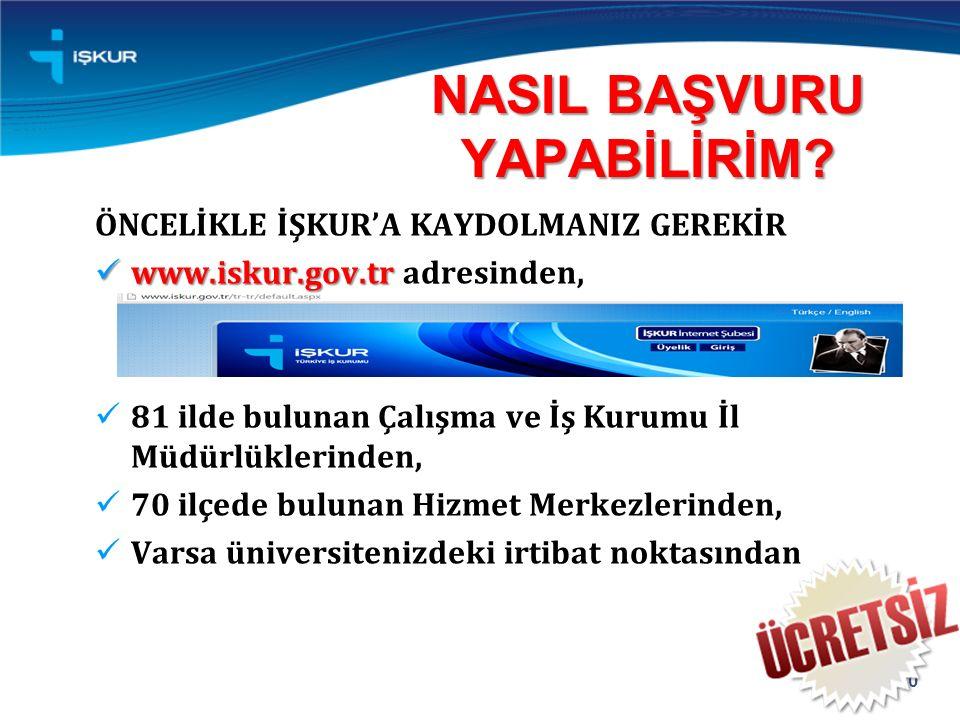 ÖNCELİKLE İŞKUR'A KAYDOLMANIZ GEREKİR www.iskur.gov.tr www.iskur.gov.tr adresinden, 81 ilde bulunan Çalışma ve İş Kurumu İl Müdürlüklerinden, 70 ilçede bulunan Hizmet Merkezlerinden, Varsa üniversitenizdeki irtibat noktasından NASIL BAŞVURU YAPABİLİRİM.