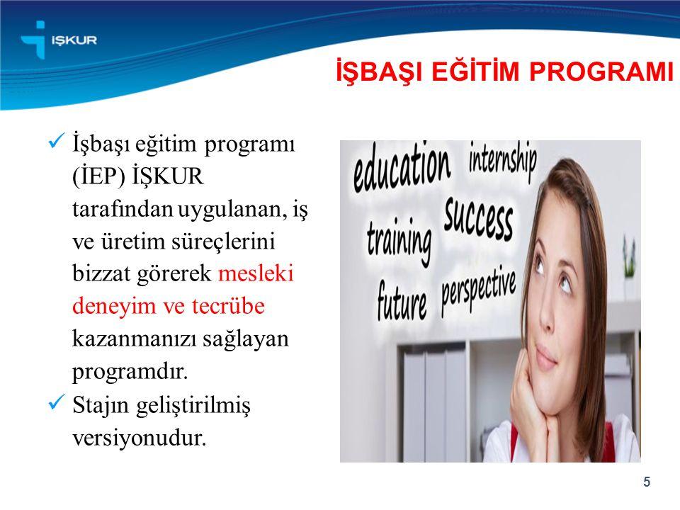 İşbaşı eğitim programı (İEP) İŞKUR tarafından uygulanan, iş ve üretim süreçlerini bizzat görerek mesleki deneyim ve tecrübe kazanmanızı sağlayan programdır.