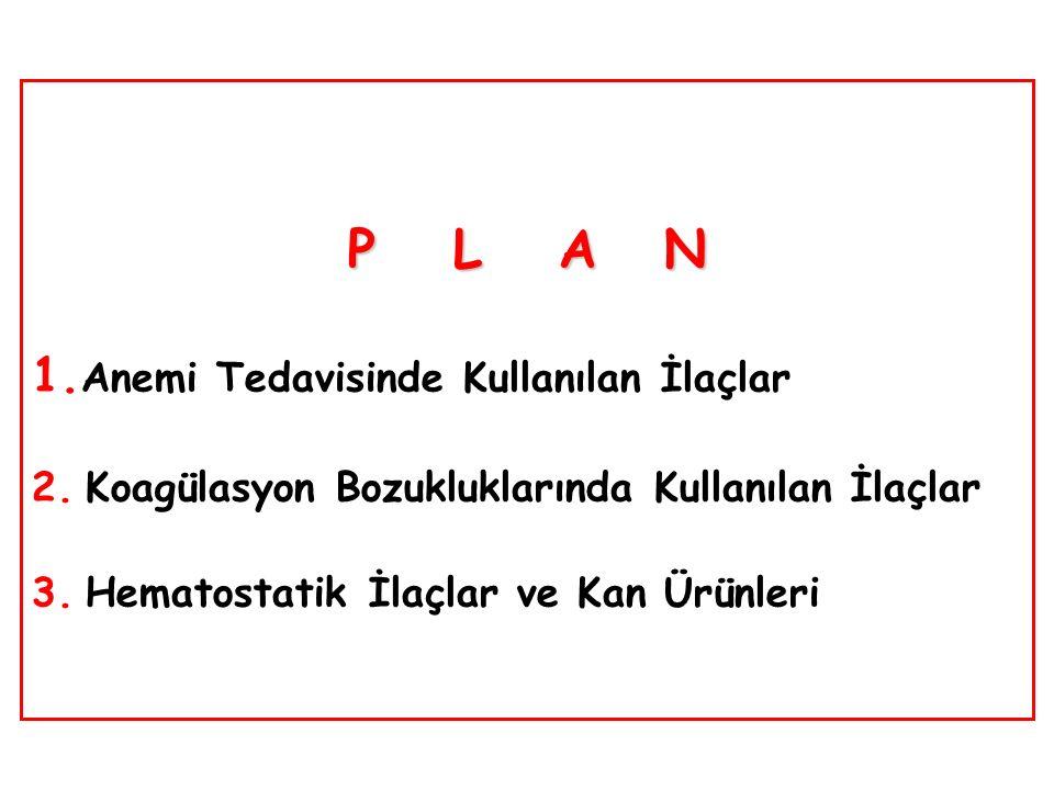 PLAN PLAN 1. Anemi Tedavisinde Kullanılan İlaçlar 2.