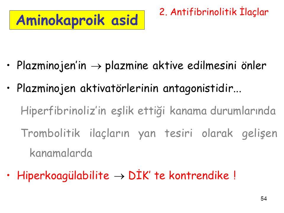 54 Aminokaproik asid Plazminojen'in  plazmine aktive edilmesini önler Plazminojen aktivatörlerinin antagonistidir...