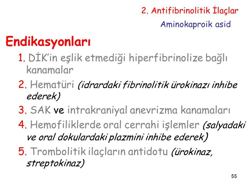 55 Endikasyonları 1.DİK'in eşlik etmediği hiperfibrinolize bağlı kanamalar 2.