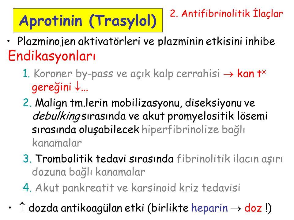 58 Aprotinin (Trasylol) Plazminojen aktivatörleri ve plazminin etkisini inhibe eder.
