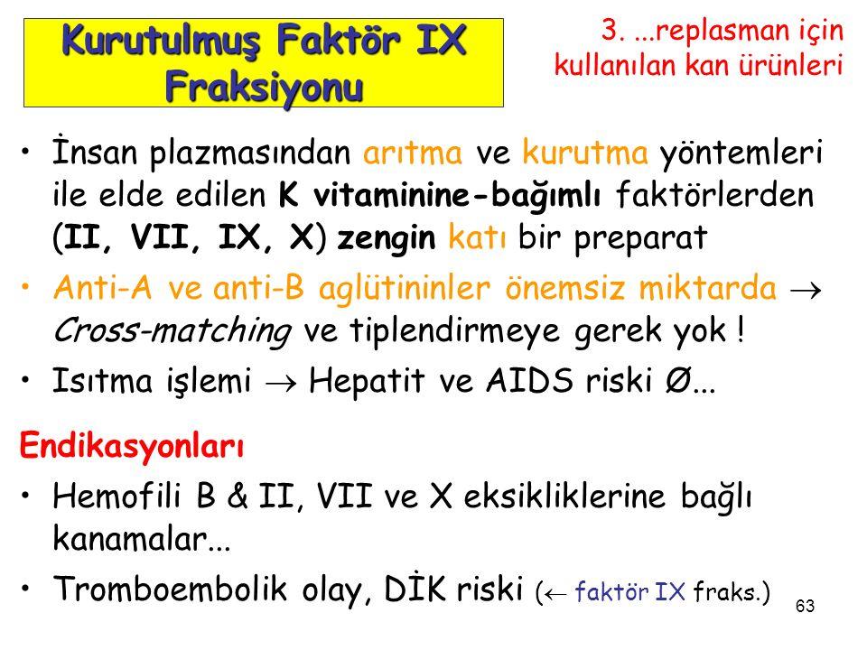 63 İnsan plazmasından arıtma ve kurutma yöntemleri ile elde edilen K vitaminine-bağımlı faktörlerden (II, VII, IX, X) zengin katı bir preparat Anti-A ve anti-B aglütininler önemsiz miktarda  Cross-matching ve tiplendirmeye gerek yok .