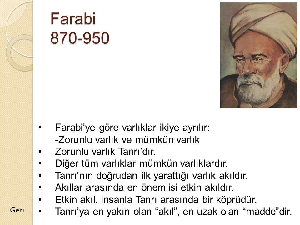 Farabi 870-950 Geri Farabi'ye göre varlıklar ikiye ayrılır: -Zorunlu varlık ve mümkün varlık Zorunlu varlık Tanrı'dır. Diğer tüm varlıklar mümkün varl