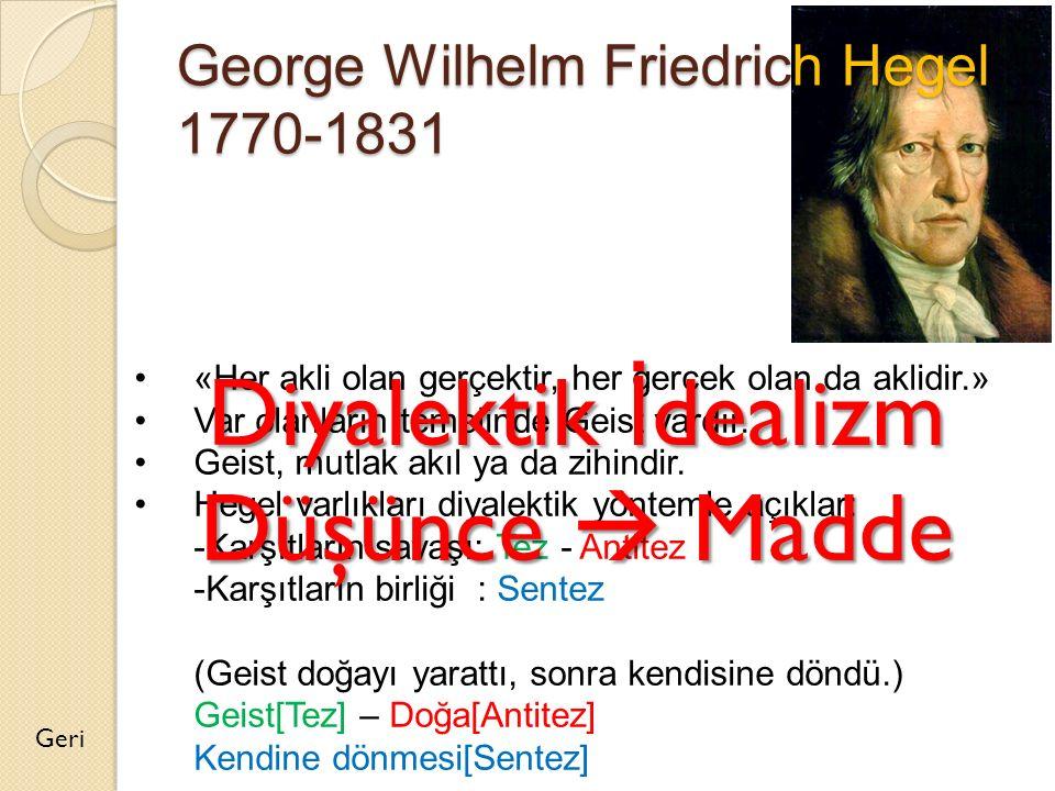 George Wilhelm Friedrich Hegel 1770-1831 Geri «Her akli olan gerçektir, her gerçek olan da aklidir.» Var olanların temelinde Geist vardır. Geist, mutl