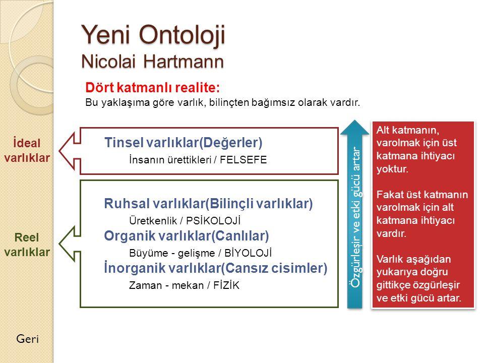 Yeni Ontoloji Nicolai Hartmann Dört katmanlı realite: Bu yaklaşıma göre varlık, bilinçten bağımsız olarak vardır. Tinsel varlıklar(Değerler) İnsanın ü