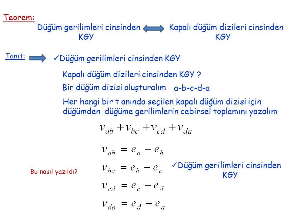 Teorem: Düğüm gerilimleri cinsinden Kapalı düğüm dizileri cinsinden KGY KGY Tanıt: Düğüm gerilimleri cinsinden KGY Kapalı düğüm dizileri cinsinden KGY