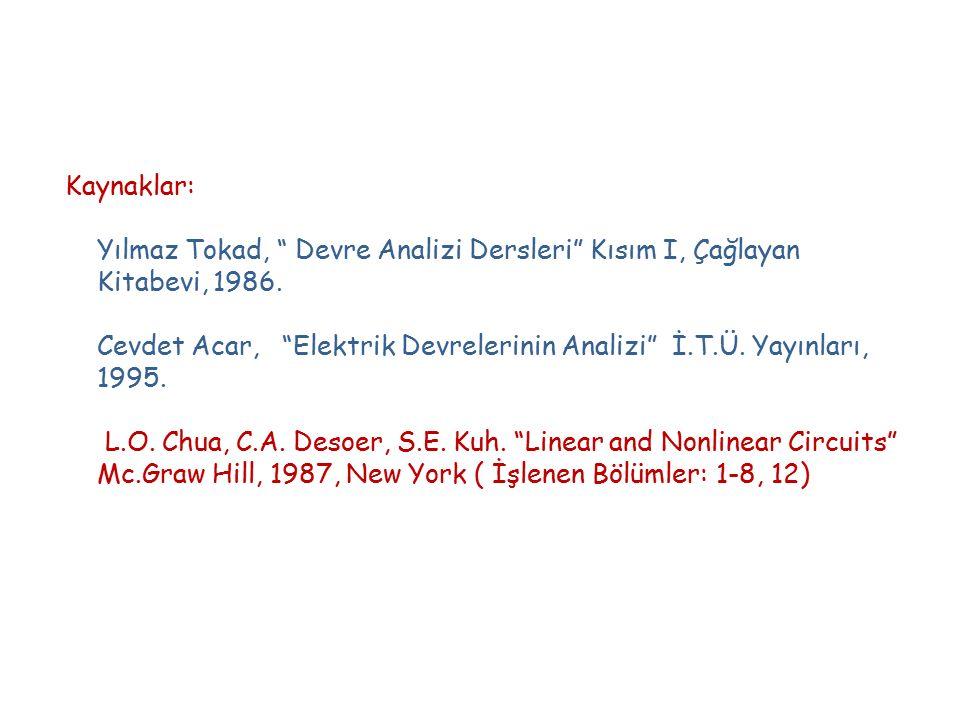 """Kaynaklar: Yılmaz Tokad, """" Devre Analizi Dersleri"""" Kısım I, Çağlayan Kitabevi, 1986. Cevdet Acar, """"Elektrik Devrelerinin Analizi"""" İ.T.Ü. Yayınları, 19"""