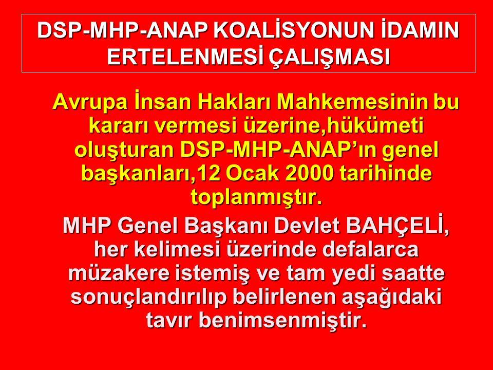 Avrupa İnsan Hakları Mahkemesinin bu kararı vermesi üzerine,hükümeti oluşturan DSP-MHP-ANAP'ın genel başkanları,12 Ocak 2000 tarihinde toplanmıştır. M