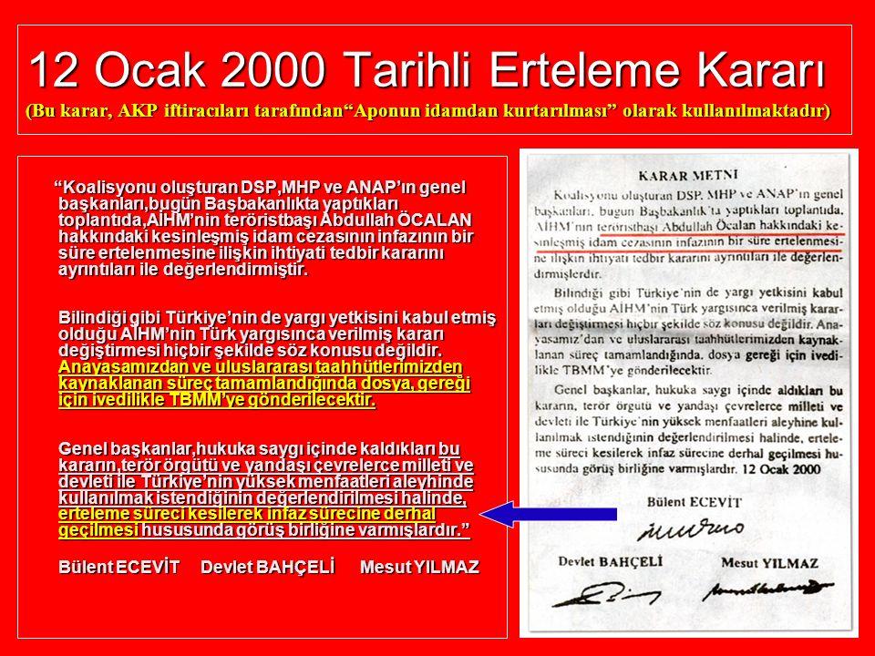 """12 Ocak 2000 Tarihli Erteleme Kararı (Bu karar, AKP iftiracıları tarafından""""Aponun idamdan kurtarılması"""" olarak kullanılmaktadır) """"Koalisyonu oluştura"""