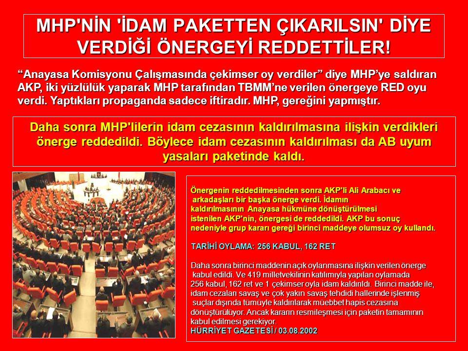 MHP'NİN 'İDAM PAKETTEN ÇIKARILSIN' DİYE VERDİĞİ ÖNERGEYİ REDDETTİLER! Önergenin reddedilmesinden sonra AKP'li Ali Arabacı ve arkadaşları bir başka öne