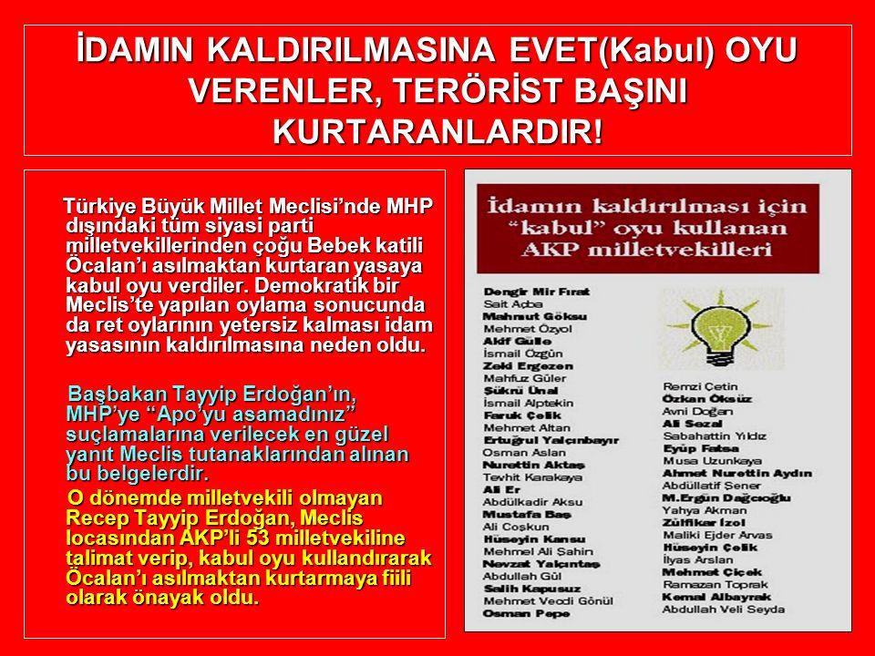 İDAMIN KALDIRILMASINA EVET(Kabul) OYU VERENLER, TERÖRİST BAŞINI KURTARANLARDIR! Türkiye Büyük Millet Meclisi'nde MHP dışındaki tüm siyasi parti millet