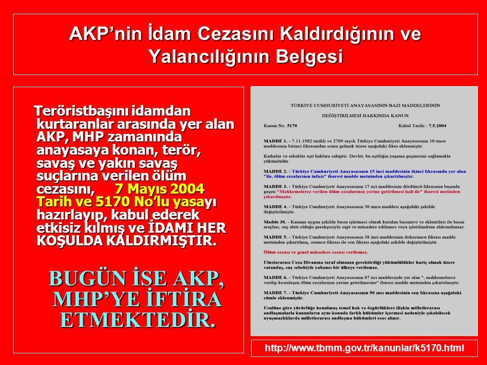 AKP'nin İdam Cezasını Kaldırdığının ve Yalancılığının Belgesi Teröristbaşını idamdan kurtaranlar arasında yer alan AKP, MHP zamanında anayasaya konan,