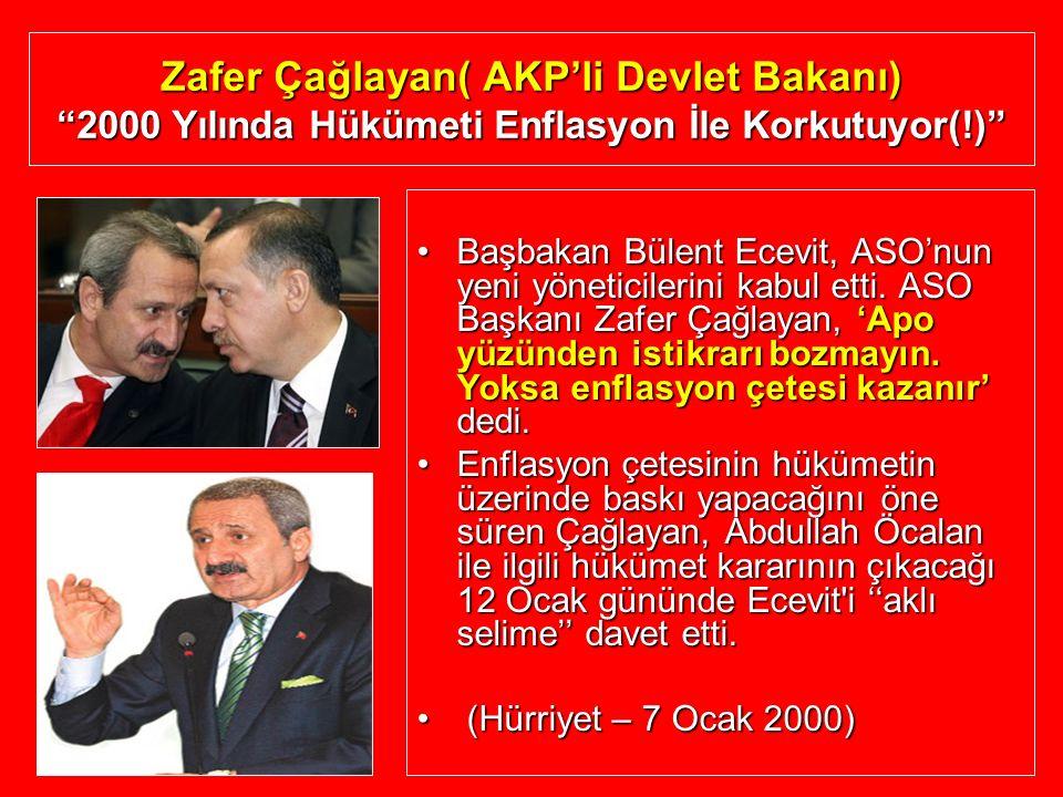 """Zafer Çağlayan( AKP'li Devlet Bakanı) """"2000 Yılında Hükümeti Enflasyon İle Korkutuyor(!)"""" Başbakan Bülent Ecevit, ASO'nun yeni yöneticilerini kabul et"""