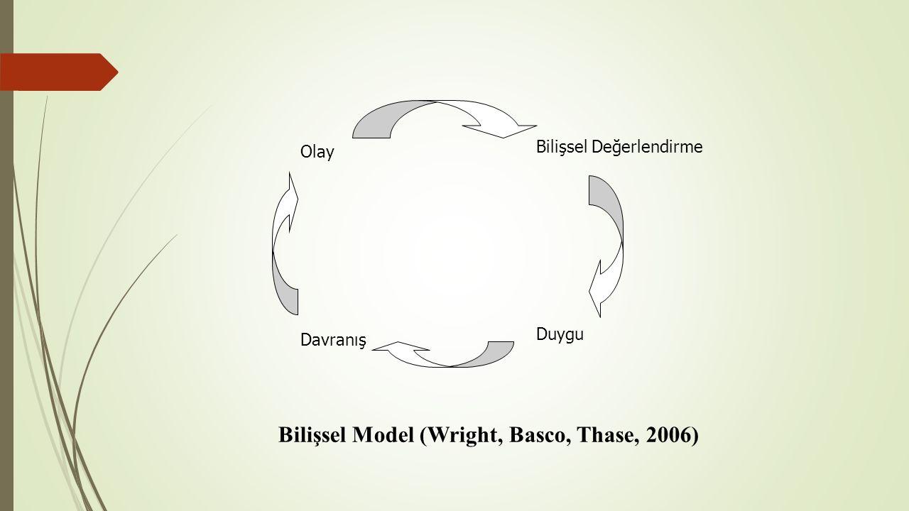 Bilişsel Değerlendirme Olay Davranış Duygu Bilişsel Model (Wright, Basco, Thase, 2006)