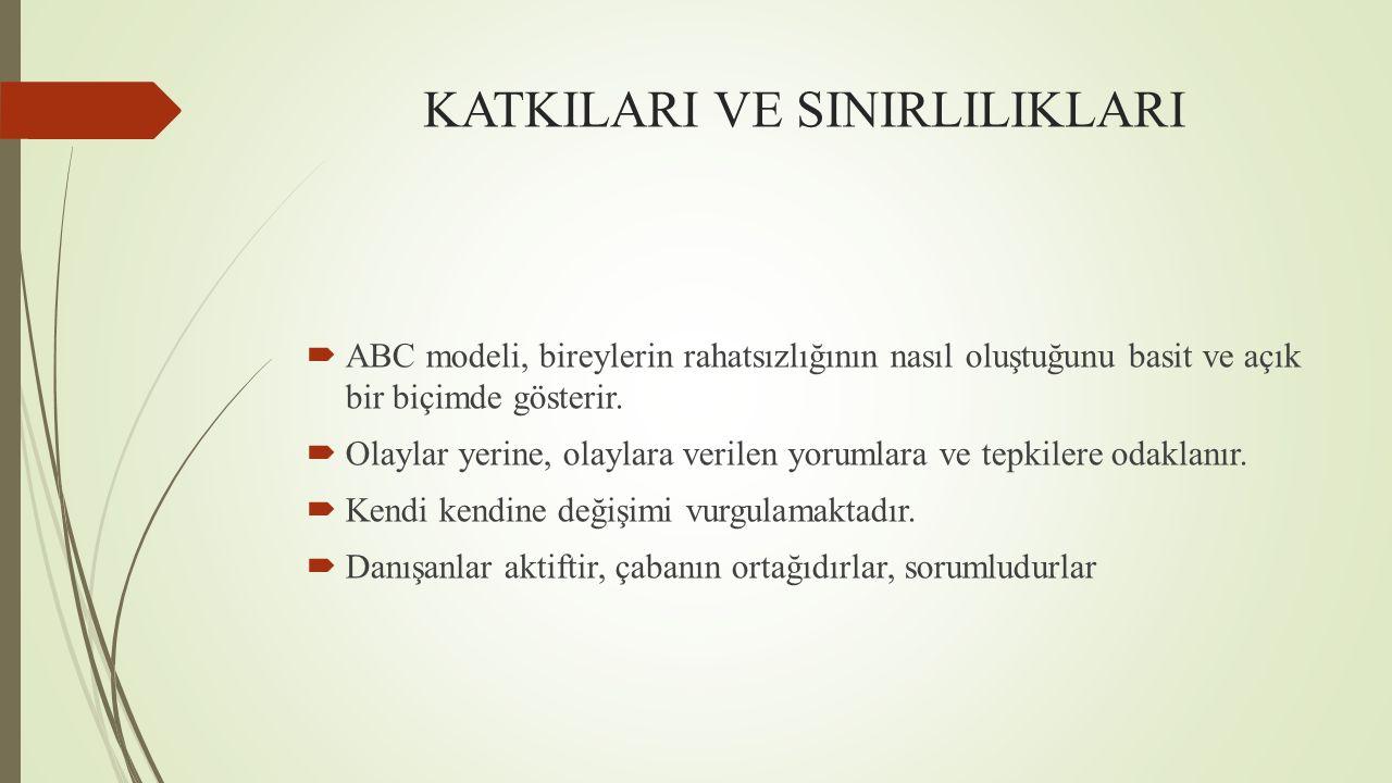 KATKILARI VE SINIRLILIKLARI  ABC modeli, bireylerin rahatsızlığının nasıl oluştuğunu basit ve açık bir biçimde gösterir.