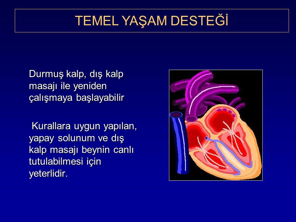 Durmuş kalp, dış kalp masajı ile yeniden çalışmaya başlayabilir Kurallara uygun yapılan, yapay solunum ve dış kalp masajı beynin canlı tutulabilmesi için yeterlidir.