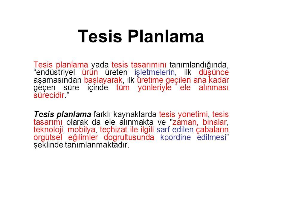 Tesis Planlama Tesis yönetimi sadece binaların yönetimi ile değil aynı zamanda hizmet ve insanları da içerir.