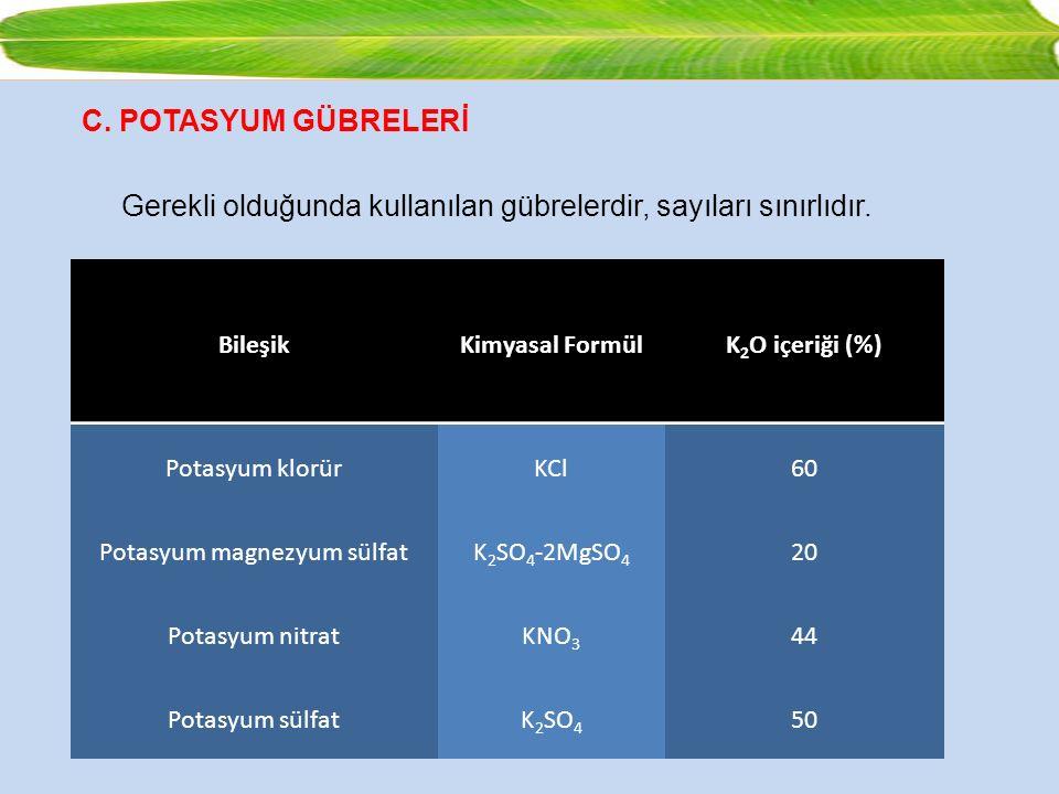 C. POTASYUM GÜBRELERİ Gerekli olduğunda kullanılan gübrelerdir, sayıları sınırlıdır. BileşikKimyasal FormülK 2 O içeriği (%) Potasyum klorürKCl60 Pota