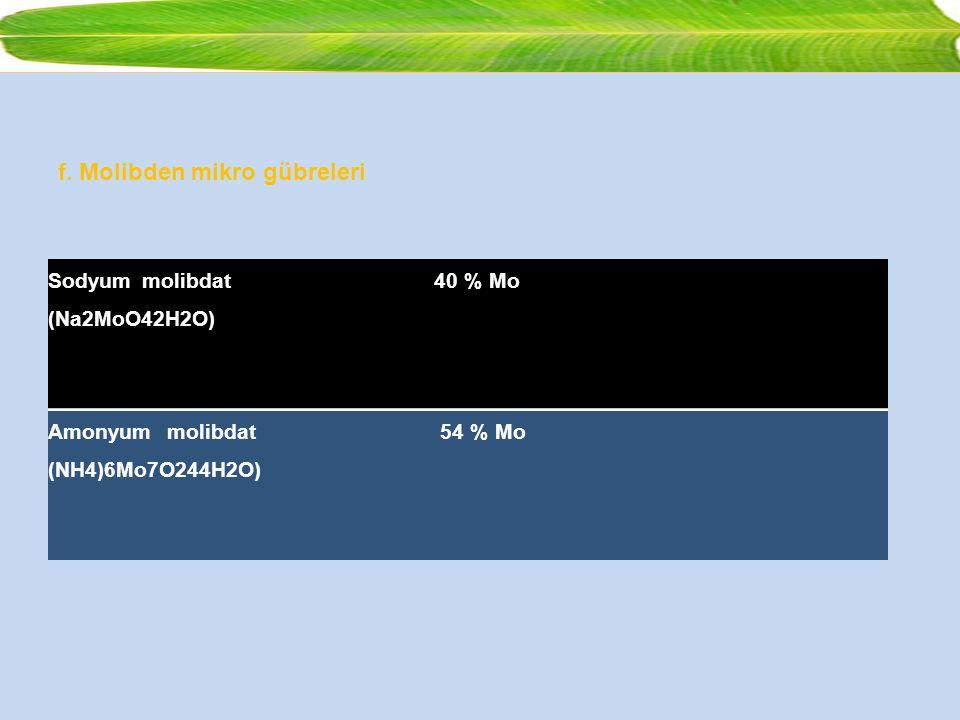 f. Molibden mikro gübreleri Sodyum molibdat (Na2MoO42H2O) 40 % Mo Amonyum molibdat (NH4)6Mo7O244H2O) 54 % Mo