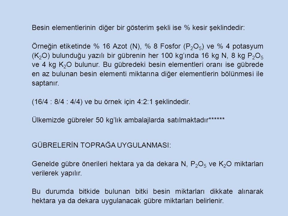 Besin elementlerinin diğer bir gösterim şekli ise % kesir şeklindedir: Örneğin etiketinde % 16 Azot (N), % 8 Fosfor (P 2 O 5 ) ve % 4 potasyum (K 2 O)