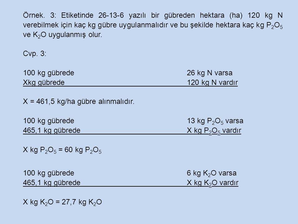 Örnek. 3: Etiketinde 26-13-6 yazılı bir gübreden hektara (ha) 120 kg N verebilmek için kaç kg gübre uygulanmalıdır ve bu şekilde hektara kaç kg P 2 O