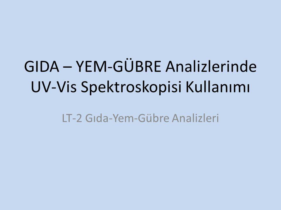 GIDA – YEM-GÜBRE Analizlerinde UV-Vis Spektroskopisi Kullanımı LT-2 Gıda-Yem-Gübre Analizleri