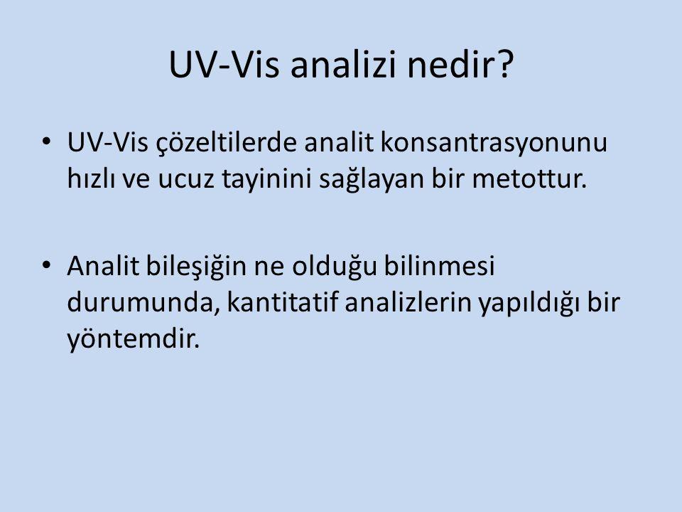 UV-Vis çözeltilerde analit konsantrasyonunu hızlı ve ucuz tayinini sağlayan bir metottur. Analit bileşiğin ne olduğu bilinmesi durumunda, kantitatif a
