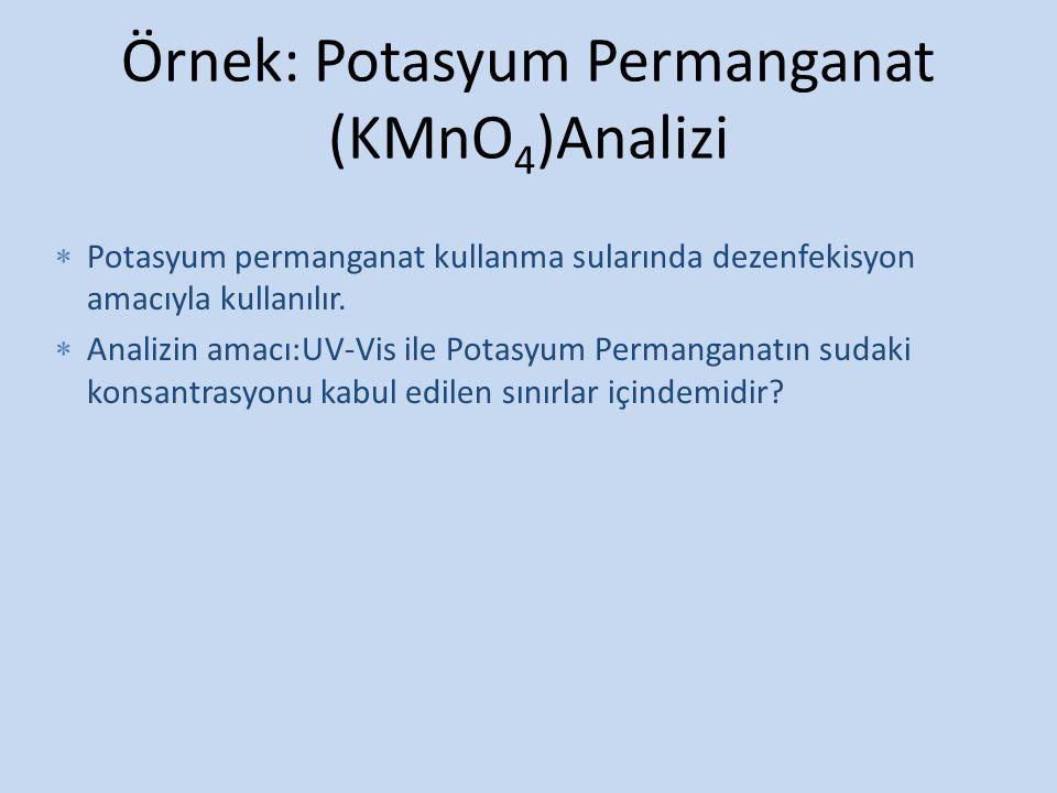 Örnek: Potasyum Permanganat (KMnO 4 )Analizi  Potasyum permanganat kullanma sularında dezenfekisyon amacıyla kullanılır.  Analizin amacı:UV-Vis ile