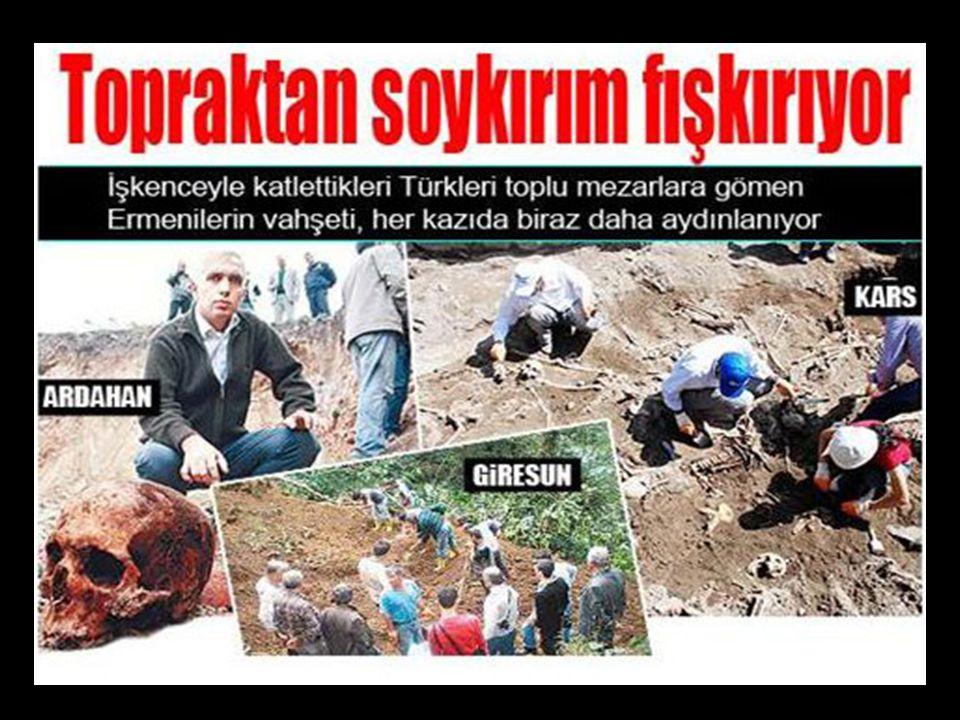 Atatürk Üniversitesi tarafından yapılan kazı sonucu, toplu mezardan çıkartılan Ermeni katliamına uğramış Türklere ait iskelet parçaları.