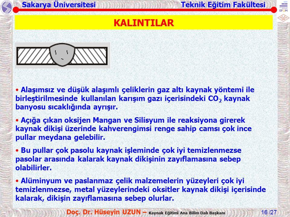 Sakarya Üniversitesi Teknik Eğitim Fakültesi /27 Doç. Dr. Hüseyin UZUN – Kaynak Eğitimi Ana Bilim Dalı Başkanı 16 KALINTILAR Alaşımsız ve düşük alaşım