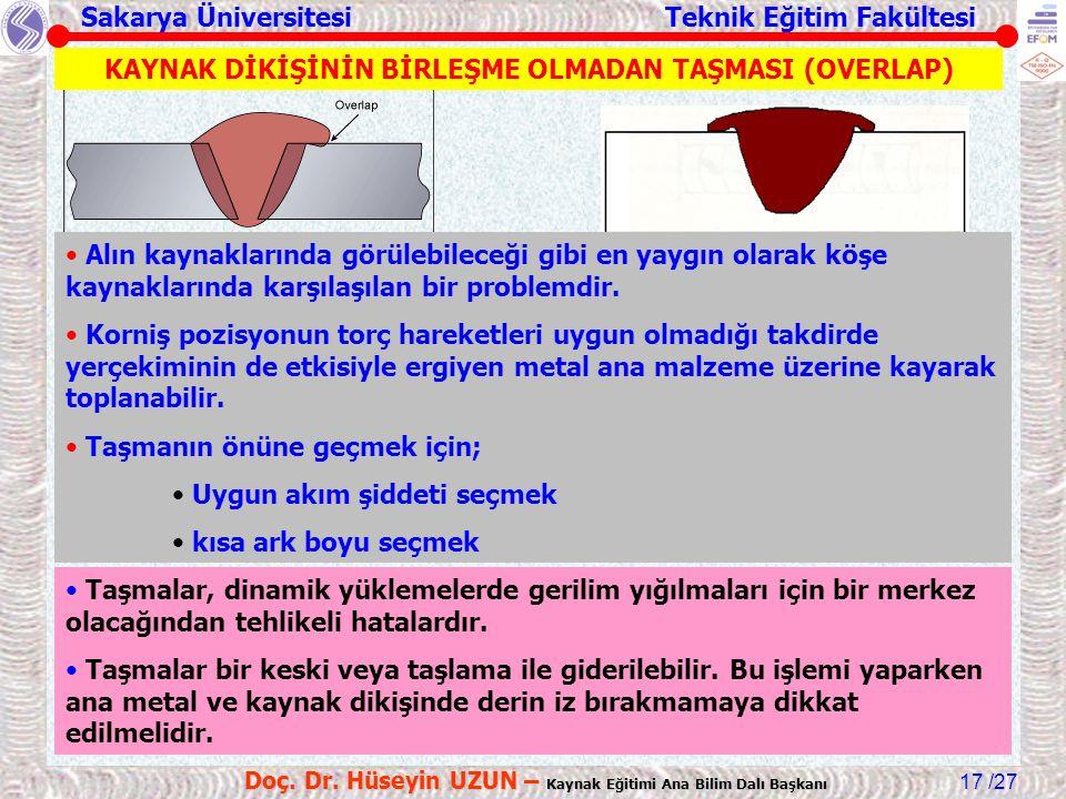 Sakarya Üniversitesi Teknik Eğitim Fakültesi /27 Doç. Dr. Hüseyin UZUN – Kaynak Eğitimi Ana Bilim Dalı Başkanı 17 KAYNAK DİKİŞİNİN BİRLEŞME OLMADAN TA