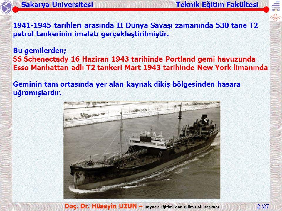 Sakarya Üniversitesi Teknik Eğitim Fakültesi /27 Doç. Dr. Hüseyin UZUN – Kaynak Eğitimi Ana Bilim Dalı Başkanı 2 1941-1945 tarihleri arasında II Dünya