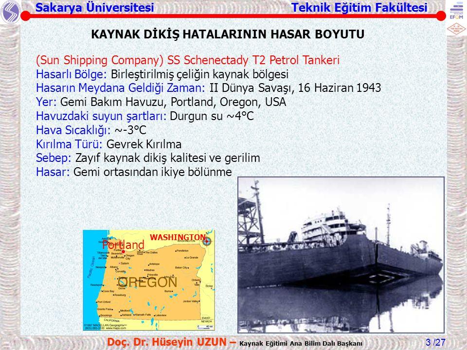 Sakarya Üniversitesi Teknik Eğitim Fakültesi /27 Doç. Dr. Hüseyin UZUN – Kaynak Eğitimi Ana Bilim Dalı Başkanı 3 (Sun Shipping Company) SS Schenectady