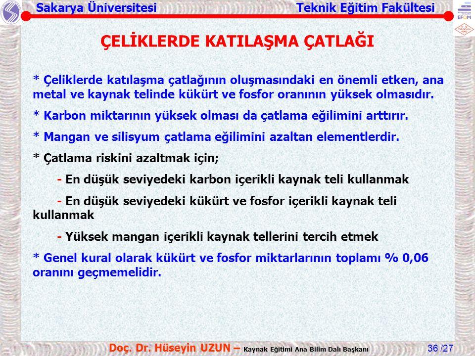 Sakarya Üniversitesi Teknik Eğitim Fakültesi /27 Doç. Dr. Hüseyin UZUN – Kaynak Eğitimi Ana Bilim Dalı Başkanı 36 ÇELİKLERDE KATILAŞMA ÇATLAĞI * Çelik