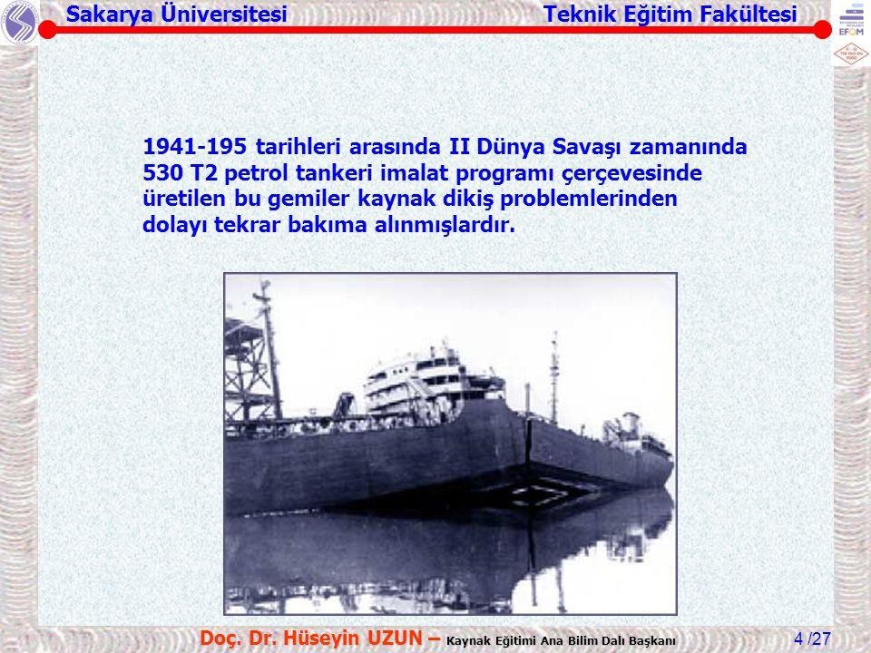 Sakarya Üniversitesi Teknik Eğitim Fakültesi /27 Doç. Dr. Hüseyin UZUN – Kaynak Eğitimi Ana Bilim Dalı Başkanı 4 1941-195 tarihleri arasında II Dünya