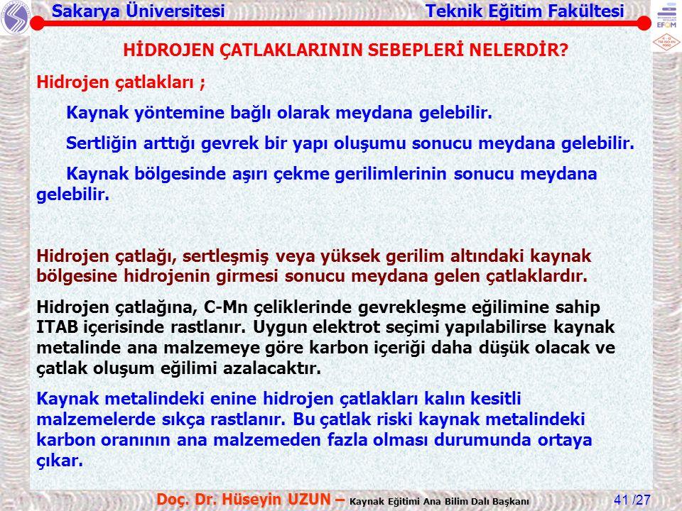 Sakarya Üniversitesi Teknik Eğitim Fakültesi /27 Doç. Dr. Hüseyin UZUN – Kaynak Eğitimi Ana Bilim Dalı Başkanı 41 HİDROJEN ÇATLAKLARININ SEBEPLERİ NEL