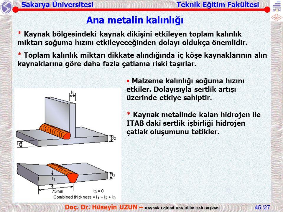 Sakarya Üniversitesi Teknik Eğitim Fakültesi /27 Doç. Dr. Hüseyin UZUN – Kaynak Eğitimi Ana Bilim Dalı Başkanı 45 Ana metalin kalınlığı * Kaynak bölge