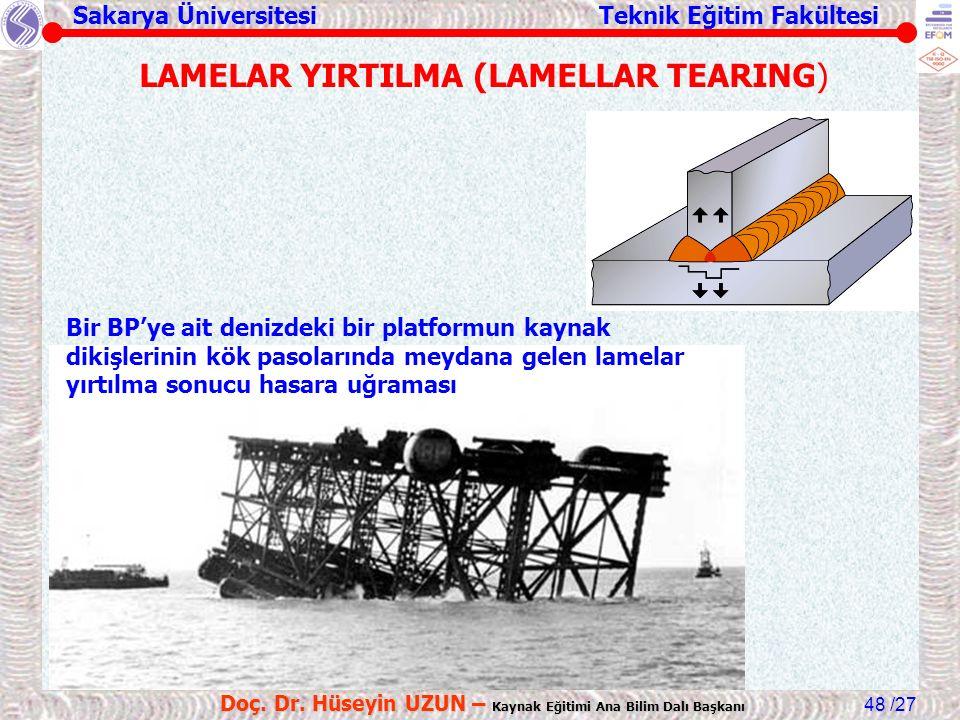 Sakarya Üniversitesi Teknik Eğitim Fakültesi /27 Doç. Dr. Hüseyin UZUN – Kaynak Eğitimi Ana Bilim Dalı Başkanı 48 Bir BP'ye ait denizdeki bir platform