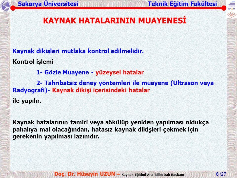 Sakarya Üniversitesi Teknik Eğitim Fakültesi /27 Doç. Dr. Hüseyin UZUN – Kaynak Eğitimi Ana Bilim Dalı Başkanı 6 Kaynak dikişleri mutlaka kontrol edil