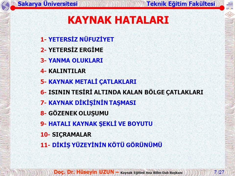 Sakarya Üniversitesi Teknik Eğitim Fakültesi /27 Doç. Dr. Hüseyin UZUN – Kaynak Eğitimi Ana Bilim Dalı Başkanı 7 KAYNAK HATALARI 1- YETERSİZ NÜFUZİYET