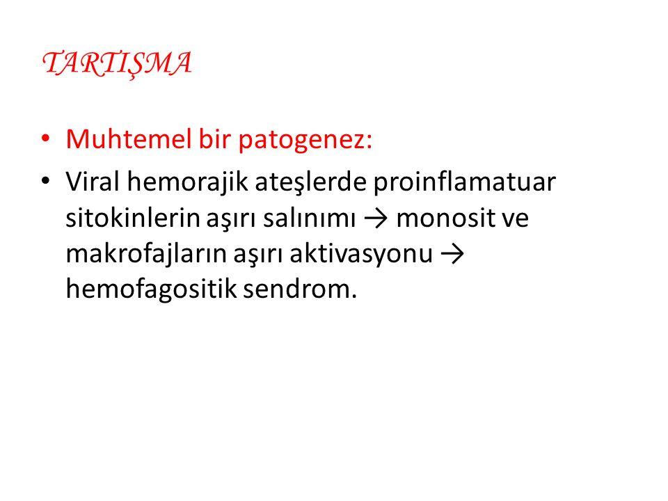 TARTIŞMA Muhtemel bir patogenez: Viral hemorajik ateşlerde proinflamatuar sitokinlerin aşırı salınımı → monosit ve makrofajların aşırı aktivasyonu → hemofagositik sendrom.