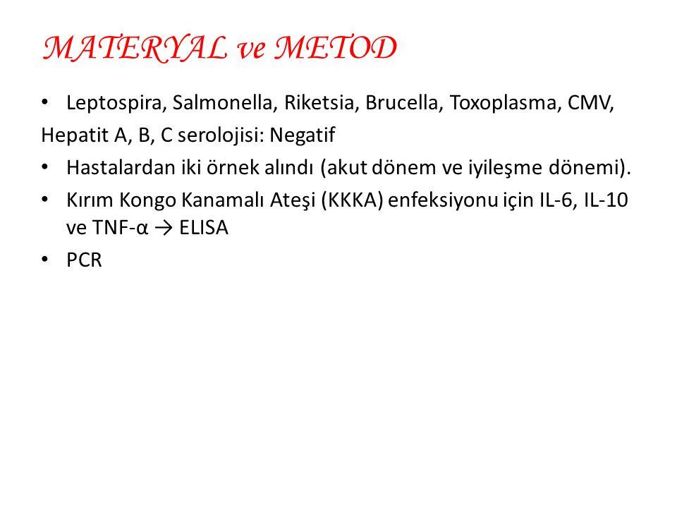 MATERYAL ve METOD Leptospira, Salmonella, Riketsia, Brucella, Toxoplasma, CMV, Hepatit A, B, C serolojisi: Negatif Hastalardan iki örnek alındı (akut dönem ve iyileşme dönemi).
