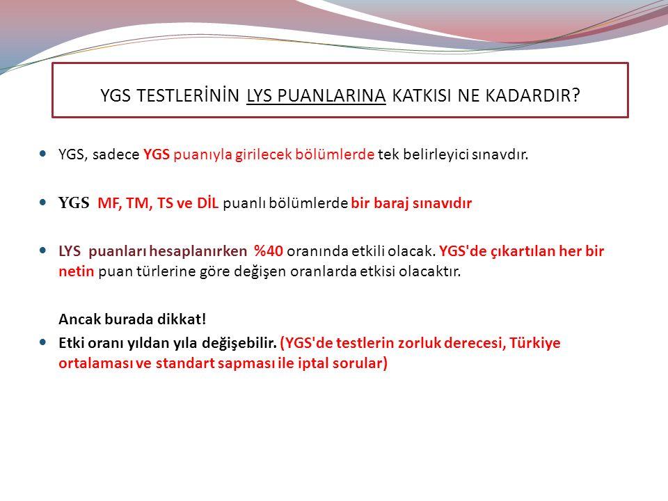 YGS, sadece YGS puanıyla girilecek bölümlerde tek belirleyici sınavdır.