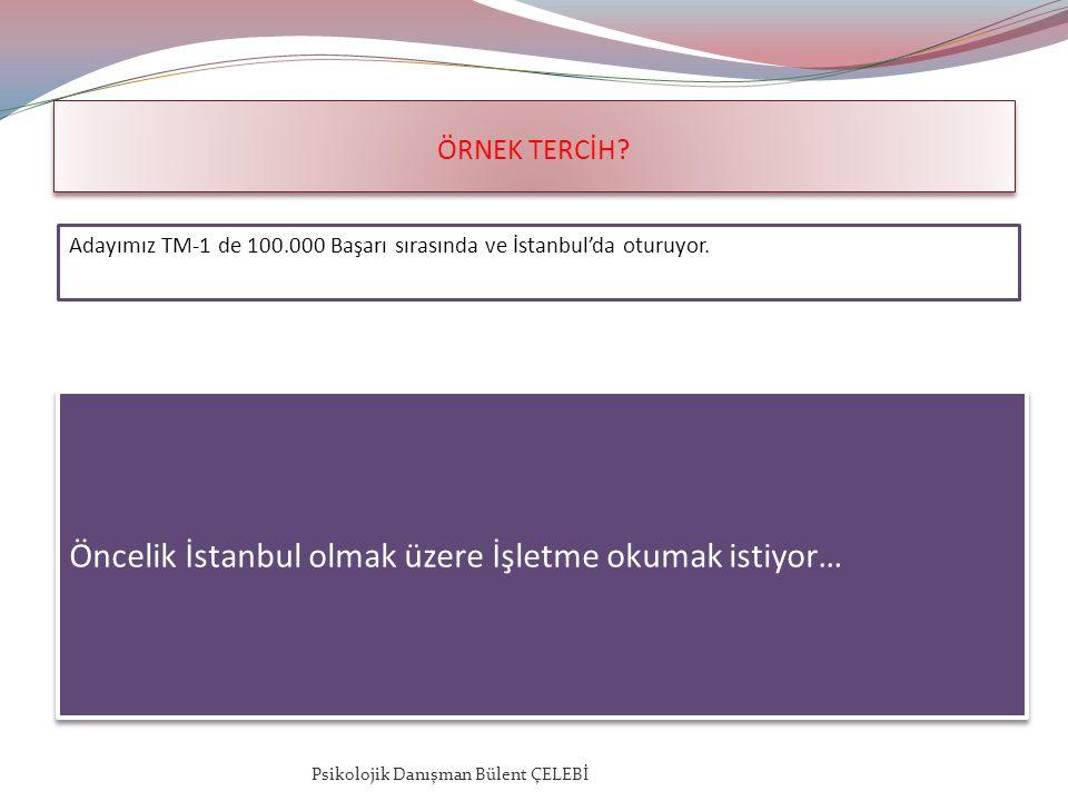 ÖRNEK TERCİH. Adayımız TM-1 de 100.000 Başarı sırasında ve İstanbul'da oturuyor.