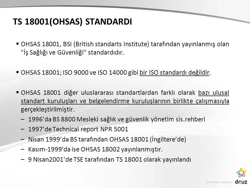 İSG Yönetim Sistemleri TS 18001(OHSAS) STANDARDI  OHSAS 18001, BSI (British standarts Institute) tarafından yayınlanmış olan İş Sağlığı ve Güvenliği standardıdır.