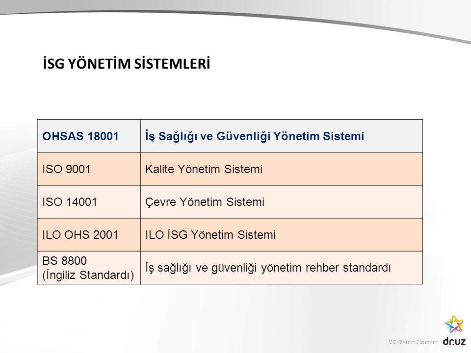 İSG Yönetim Sistemleri İSG YÖNETİM SİSTEMLERİ OHSAS 18001İş Sağlığı ve Güvenliği Yönetim Sistemi ISO 9001Kalite Yönetim Sistemi ISO 14001Çevre Yönetim Sistemi ILO OHS 2001ILO İSG Yönetim Sistemi BS 8800 (İngiliz Standardı) İş sağlığı ve güvenliği yönetim rehber standardı
