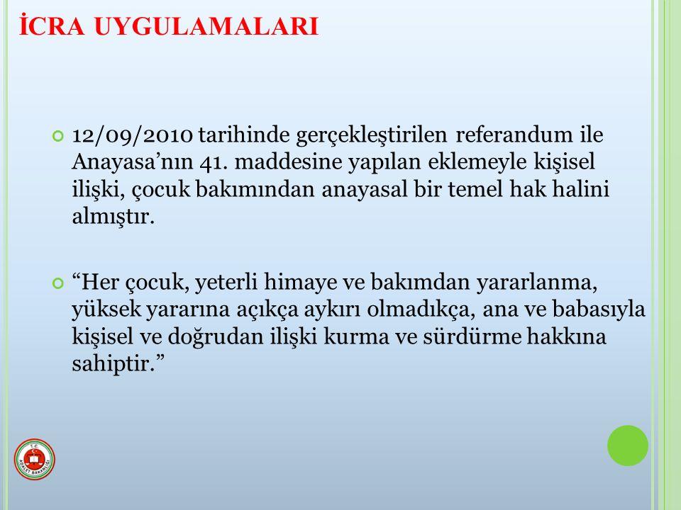 12/09/2010 tarihinde gerçekleştirilen referandum ile Anayasa'nın 41.