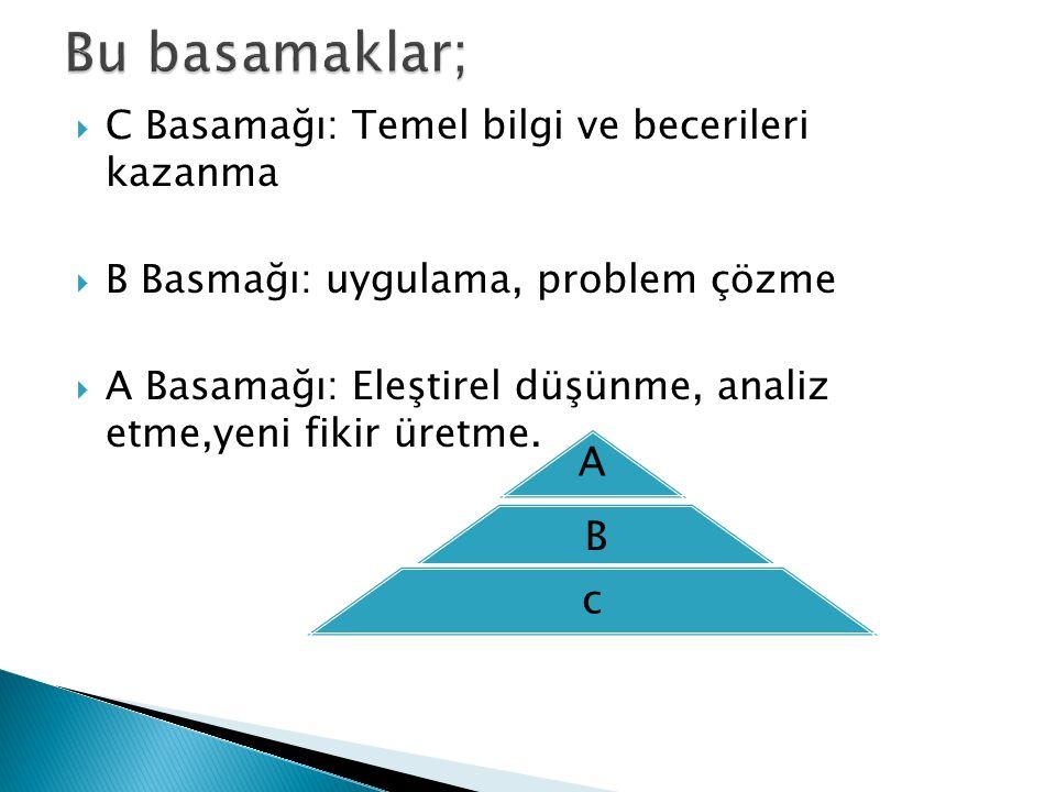  C Basamağı: Temel bilgi ve becerileri kazanma  B Basmağı: uygulama, problem çözme  A Basamağı: Eleştirel düşünme, analiz etme,yeni fikir üretme. A